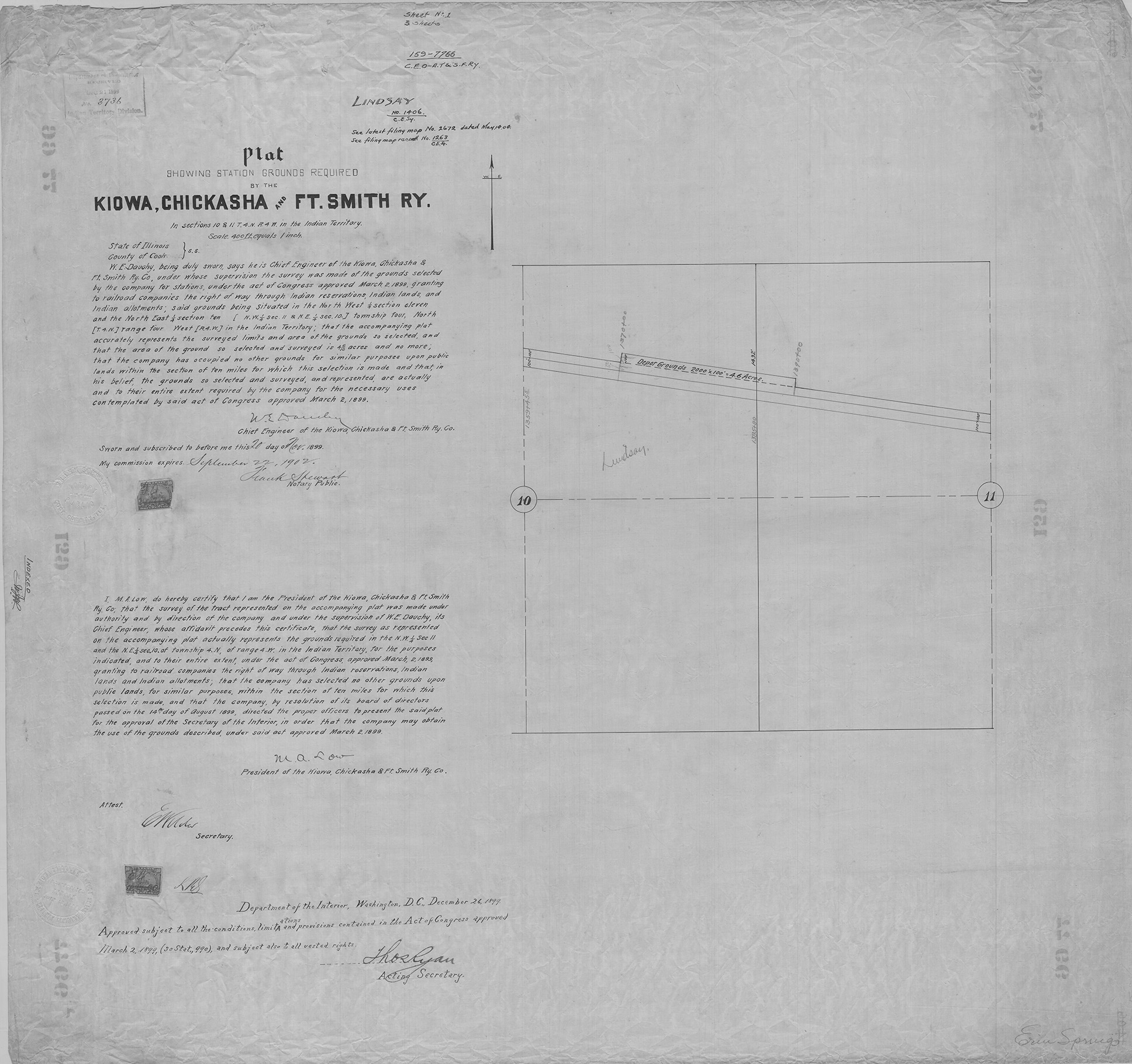 A filing map showing land claimed under an act of Congress in March 1899 and the plat for a train station in Cook County, Ill. A plat map shows the divisions of a piece of land by streets and blocks.