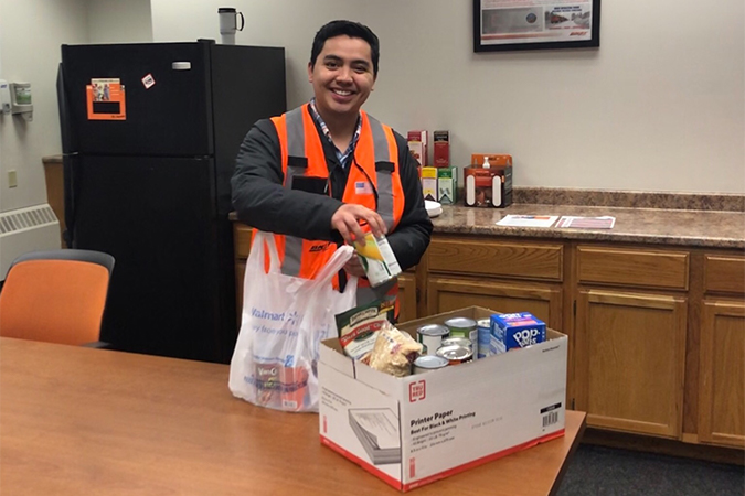 Terminal Trainmaster Eddie Mendoza is leading a food drive in the Twin Cities.