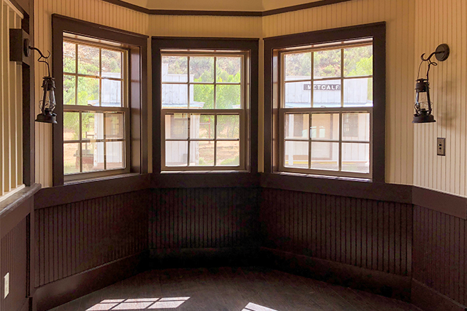 The bay window where the functioning telegraph will sit along with a semaphore, hand cranked telephones and signals.