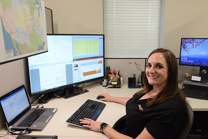 Senior Engineer I Jessica Wieder is analyzing in-train forces for a BNSF train dynamics study.