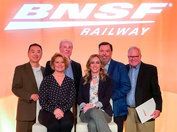 BNSF's Ombudsman Team (from left to right) back row: Roger Hsieh, Greg Guthrie, Jon Long, Steve Milligan. Front row: Mignon Lambley and Maia LaSalle.