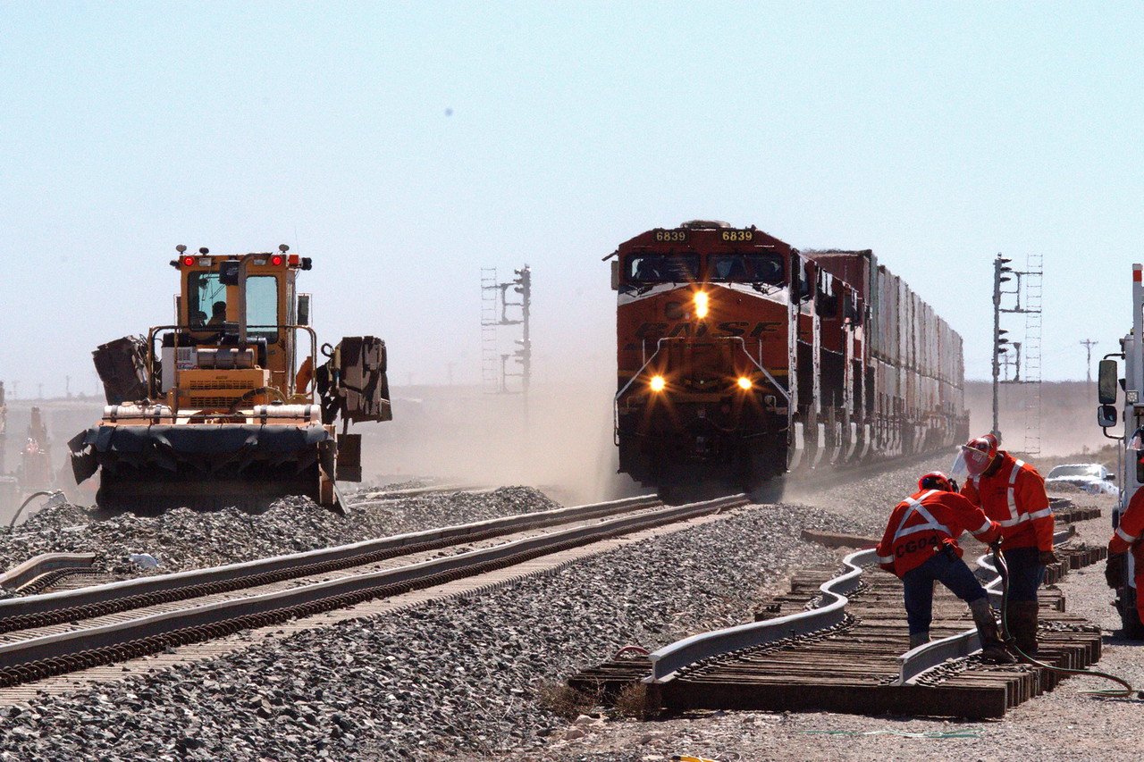 BNSF employees work on double track project