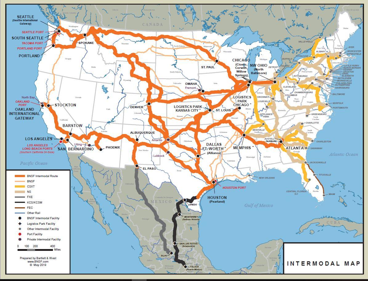 Us Intermodal Rail Map Rail Network Maps | BNSF