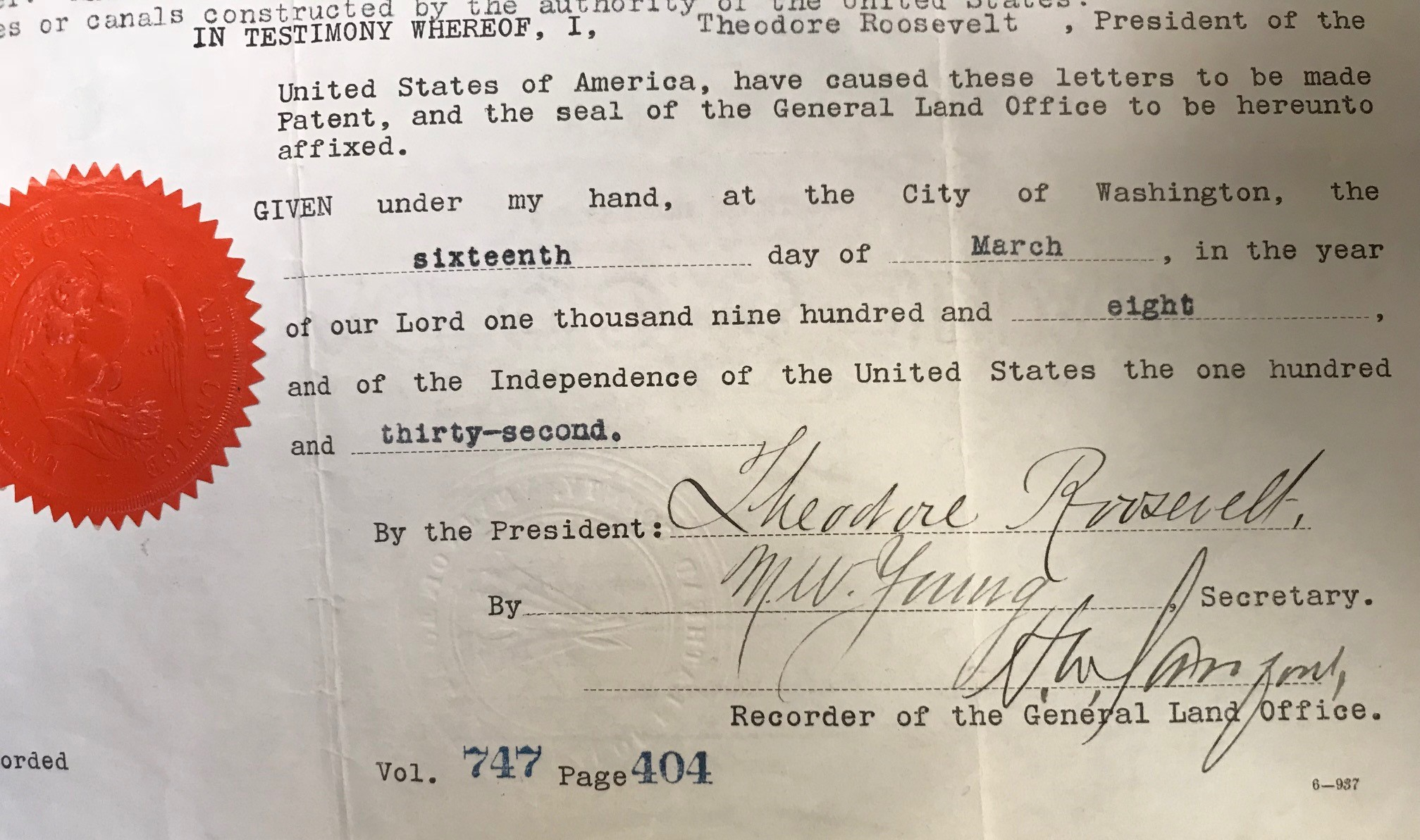 President Theodore Roosevelt signed a land patent providing land near the Grand Canyon Forest Reserve to the Santa Fe Pacific Railroad Company – a holding company for the ATSF – on March 16, 1908.
