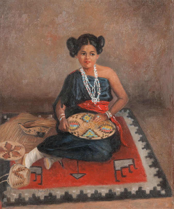 Hopi Girl with Plaque, 1917; oil on canvas; 24 x 20 inches