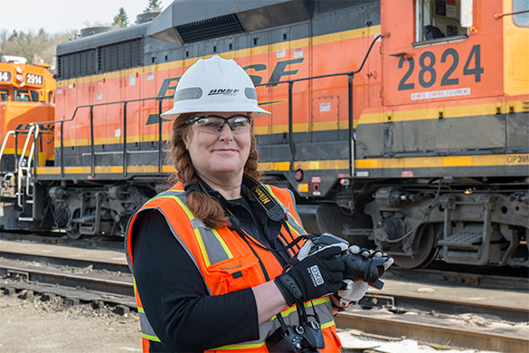 Andrea Capiola, during an authorized visit to a BNSF facility.